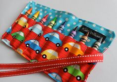 NEW- Crayon Holder-8 Crayola Crayons Included-Great Gift or Party Favor. $7.00, via Etsy. Cute patterns.