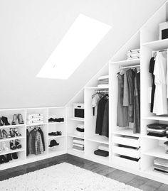 walkincloset closet atticspace quotMein Loft on Haus oben Attic Bedroom Closets, Attic Closet, Closet Bedroom, Attic Bedroom Storage, Attic House, Closet Small, Bedroom Small, Kids Bedroom, Master Bedroom