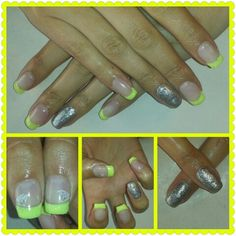 Amarillo & purpurina (uñas de gel Romina en facebook )