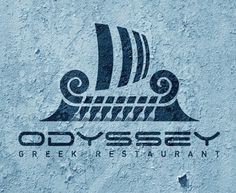 This is so neat! Its a callback to the greek myth of the odyssey. And for a greek restaurant this is perfect. Restaurant Branding, Logo Branding, Branding Design, Logo Design, Graphic Design, Logo Inspiration, Greek Restaurants, Great Logos, Business Design