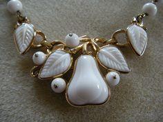 Trifari White Glass Pear Necklace