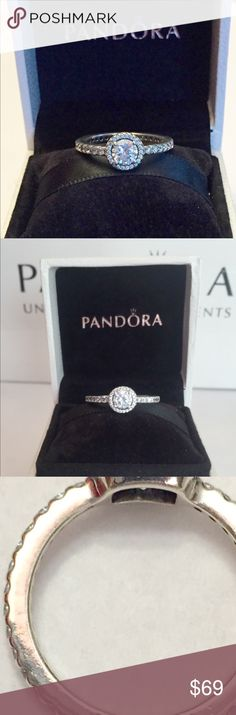 e7bd9a6a1 Authentic Pandora Classic Elegance Ring size Sterling Silver with Cz's.  Hallmark Stamp S 925 ALE. Size Pandora Hinged Box is included.