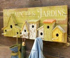 Bird house hooks for garden tools