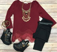 Waves of Lace Top: Burgundy