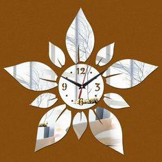 Mirror Wall Clock, Diy Mirror, Wall Clocks, Flower Wall Stickers, Mirror Wall Stickers, Modern Room, Modern Decor, Mirror Quartz, Luxury Mirror