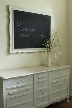 Decorating on a #budget. Thrift store dresser used as dining room #buffet ($62). Thrift store mirror turned into a #chalkboard ($15). Total cost with accessories = $100. Paint in your own color scheme.