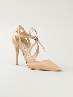 Jimmy Choo 'Lapris' Nude Leather Pointed Toe Pump