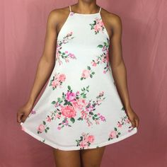 | ‼TEMP SALE‼️ | sweetie pie dress Sleeveless high neck floral print A-line dress, fully lined. Dress has small tan dots in pattern. 90% Polyester 7% Linen 3% Spandex. Dresses