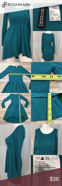🍭Size 6 H&M Teal Long Sleeve Hi/Low Sweater Dress Measurements are in photos. Normal wash wear, no flaws. E3/25  I do not comment to my buyers after purchases, do to their privacy. If you would like any reassurance after your purchase that I did receive your order, please feel free to comment on the listing and I will promptly respond. I ship everyday and I always package safely. Thanks! H&M Dresses Mini