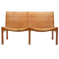 Oak and Cane Bench by Larsen and Madsen | 1stdibs.com