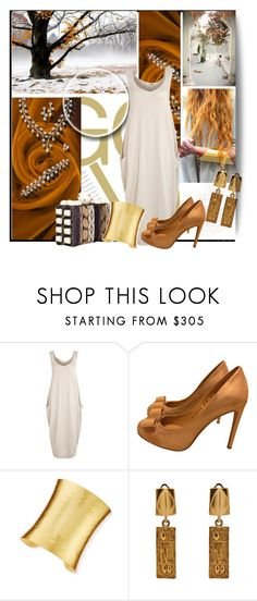 """""""As Good as Gold"""" by lavendergal ❤ liked on Polyvore featuring Crea Concept, Salvatore Ferragamo, Tonya Hawkes, Stephanie Kantis and Karl Lagerfeld"""