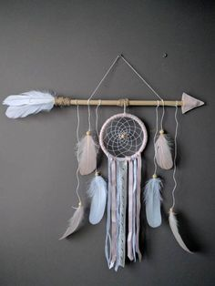 Pink arrow nursery dream catcher/ large baby mobile/ Large