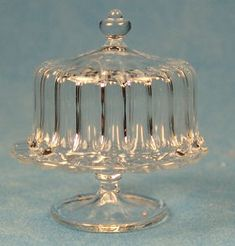 Cake stand with cover - crystalline - $17.00 : S P MINIATURES - hand crafted dollhouse scale miniatures, S P MINIATURES - shop online for dollhouse scale miniatures