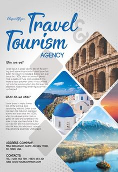 Travel Flyer Template Free Travel and tourism – Flyer Psd Template Travel Brochure Design, Travel Brochure Template, Travel Design, Brochure Ideas, Travel And Tourism, Free Travel, Travel Agency, Modele Flyer, Broucher Design