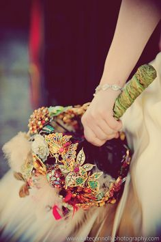 brooch bouquet, normally I don't care for these but this one is kind of cool.
