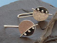 Sterling Silver Earrings  - Silver disc earrings - Silver jewelry - Handcrafted jewellery