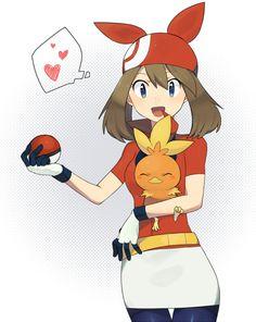 May and Torchic Pokemon Waifu, Pokemon Manga, Sexy Pokemon, Pokemon Fan Art, Sapphire Pokemon, Pokemon Emerald, Pokemon People, Pokemon Ships, Pokemon Images
