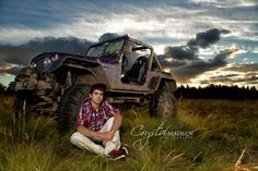Coolest senior pic ever with a guy posing with his mud bogging jeep Senior Pic Ideas For Guys Spokane Photography Jeep Senior Pics