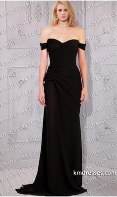 Evening dress embellished off shoulder