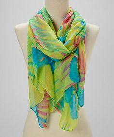 Look what I found on #zulily! Yellow & Blue Floral Scarf #zulilyfinds