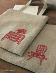 Nice stitchworks to make plain bags look cute.