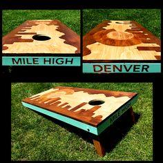 Colorado flag with Denver skyline cornhole boards.