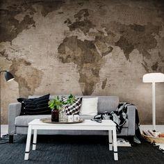 Um mapa do mundo adorável, no papel desbotado com bordas desgastadas, manchas e rugas.  Painel Fotográfico feito Sob Medida no tamanho da sua Parede!  Fácil de Aplicar, aplica-se como se fosse um papel de parede comum.