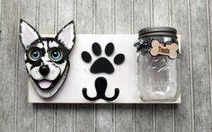 Custom Dog leash holder with treat jar. by KingsBenchCreations