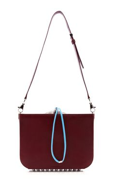 Blood Orange Flat Bucket Bag With Blue Strap by Alexander Wang Pre-Fall 2014 (=)