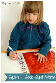 Squish and Seek Sight Word Game. This is creative, low prep way to help kids learn sight words. Students move pInt around to reveal sight words. Student then writes words. Credit: Playdough to Plato Teaching Sight Words, Sight Word Games, Sight Word Activities, Time Activities, Literacy Centers, Teaching Resources, Kindergarten Literacy, Early Literacy, Infant Activities
