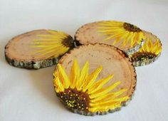 Hand painted wooden coasters in a bright sunflower design . Hand painted wooden coasters in a bright sunflower design . Wood Crafts, Fun Crafts, Diy And Crafts, Arts And Crafts, Diy Wood, Wood Slice Crafts, Diy Coasters, Wood Slices, Tree Slices