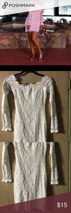 Fashion nova off white lace party dress size small This beautiful stretch off white lace party dress was worn once. Size small so comfortable off shoulders fashionable look. Shop my closet for bundle deals. Thanks for stopping by Fashion Nova Dresses Midi