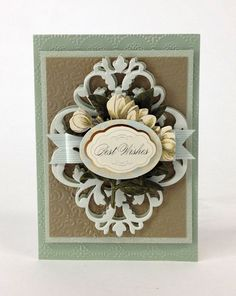 cardmaking Anna Griffin - best wishes card die cut flag bow grey - blue - gold - cream floral die cut embossed card