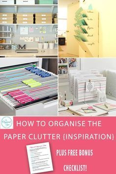 How to Organise the Paper Clutter {Inspiration} - paper clutter in a home office or a living space can really lead to decreased productivity and extreme frustration when you can't find what you're looking for. This post is filled with inspiration for organising the home office, dealing with the paperwork with easy-to-use systems, and organised desk spaces. Grab your FREE checklist for the paperwork categories you need for filing your paperwork when you click through to read the full post.