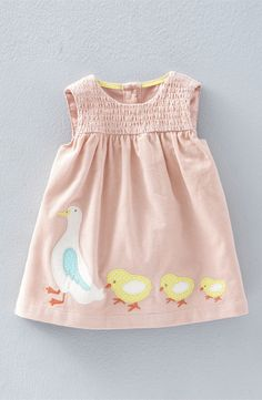 Mini Boden 'Animal Friends' Appliqué Corduroy Pinafore (Baby Girls & Toddler Girls)