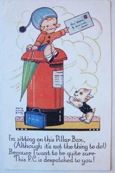 Vintage-Nora-Annie-Birch-Postcard-Ghild-on-Pillar-Box-with-Dog-c1932
