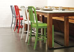Emeco 111 Navy Chairs -  love the wood bench seating & storage too