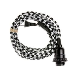 Pendant Light Cord (2-prong plug) - Black & White Houndstooth