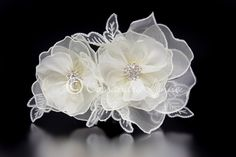 Bridal Flower Clip with Embroidered Leaves and Jewels