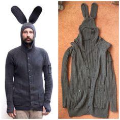 Unisex grey Blamo Bunny rabbit ears hoodie cardigan sweater knitted onesie