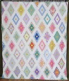 Excellent Gorgeous Vintage 30s Jewel Box Flower Garden Quilt   Vintageblessings