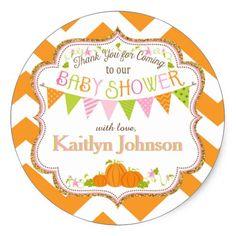 Fall Pumpkin Girl Gold Glitter Baby Shower Classic Round Sticker