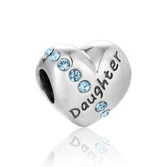 Let your daughter know how much she's appreciated by surprising her with one of our sterling silver bead charms that are accented with the word 'Daughter' long with a band of light blue crystals.    Avoid the Christmas rush and order early:  - use coupon EARLYBIRD to get 5% of your order        Buy any 2 charm and use code TWOITEMS at checkout to receive 10% discount on your order.    Buy any 3 charm and use code THREEITEMS at checkout to receive 12% discount on your order.  Buy any 4 charm…