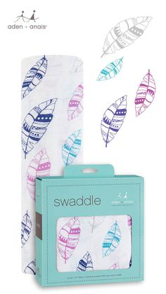 Our cotton muslin single swaddle packs are the perfect way to test out the magic of muslin and decide which print (like this adorable feather design) you like best!