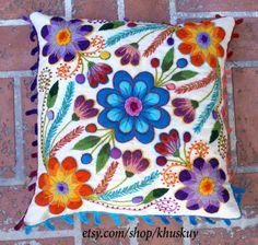 Perú bordado almohadas bordadas flores de ovejas y alpaca lana