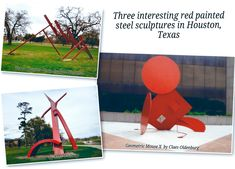 Houston Sculptures - 3 Different Red Painted Steel Ones! | Explore Houston With Peggy