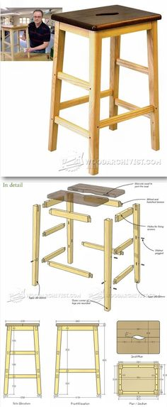 Bench Stool Plans - Furniture Plans and Projects | WoodArchivist.com #WoodworkingBench