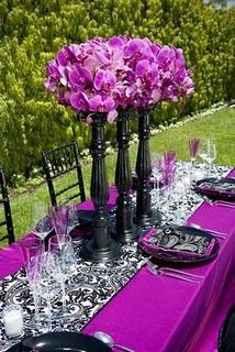 Reception, Flowers & Decor, white, purple, black, Centerpieces, Centerpiece