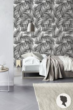 Palm Leaves Pattern Peel and Stick Removable Wallpaper by Livettes