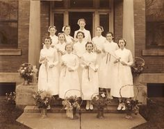 The 1937 graduating class of the Children's Hospital School of Nursing. #vintage #nurses #uniform #1930s